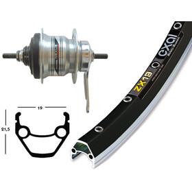 Exal ZX 19 Roue arrière 28x1.75 freins à rétropédalage Shimano 7 vitesses, silver